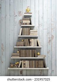 bookshelf shaped christmas tree, background