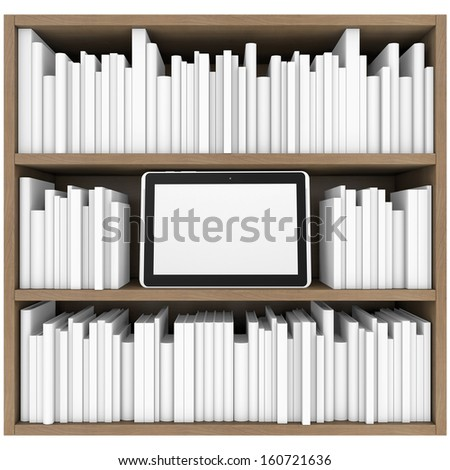 Bookshelf And Tablet PC 3d Render Isolated On White Background