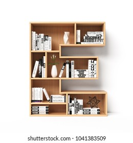 Bookshelves 3d font. Alphabet in the form of book shelves. Mockup font.  Letter E 3d rendering