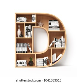 Bookshelves 3d font. Alphabet in the form of book shelves. Mockup font.  Letter D 3d rendering