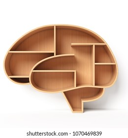 Bookshelves in the shape of human brain, intelligence book shelf concept 3d rendering