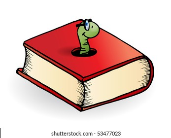Bookworm come out from a book over a white background