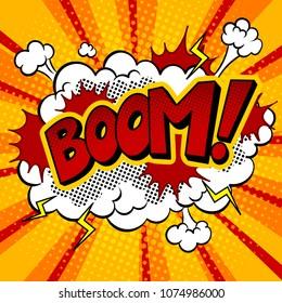 Boom word pop art retro raster illustration. Comic book style imitation.