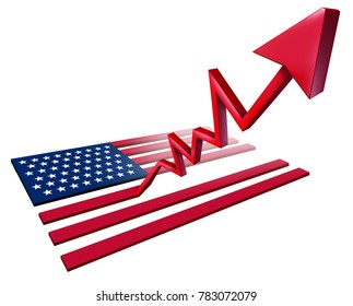 Booming American economy growth and economic United States GDP increase as a US flag transforming into an upward rising arrow as a 3D illustration.