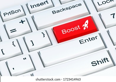 Boost button at the white computer keyboard. 3D illustration