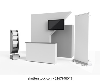 Booth. 3D rendering