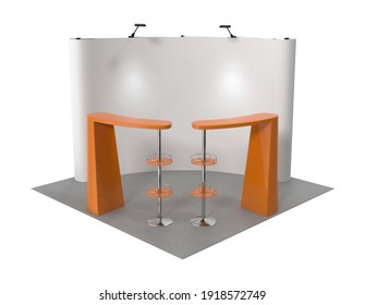 Booth and Backdrop 3D illustration on white background