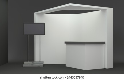 Booth Backdrop. Blank Empty Exhibition Stand With Counter. 3D Rendering