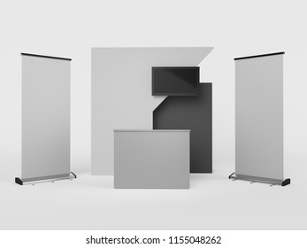 Booth With Banner. 3D rendering