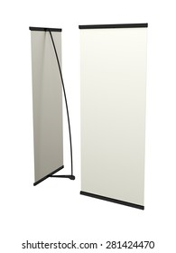 booth banner, L-banner folding on a white background with space for text