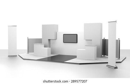 booth design in exhibition with tv display and rollups. 3D rendering