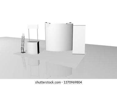 booth expo design template exhibition white advertising surfaces 3D rendering 3D illustration