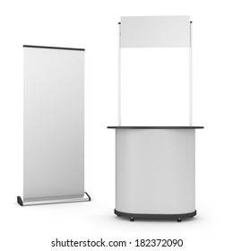 booth or kiosk with rollup isolated on white. 3d render