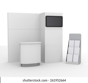 booth mock-up with tv display for a trade fair