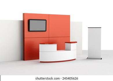 booth or stall with wall, tv and roll-up