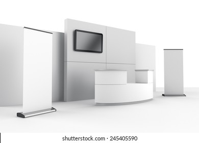booth or stall with wall, tv and roll-ups from side