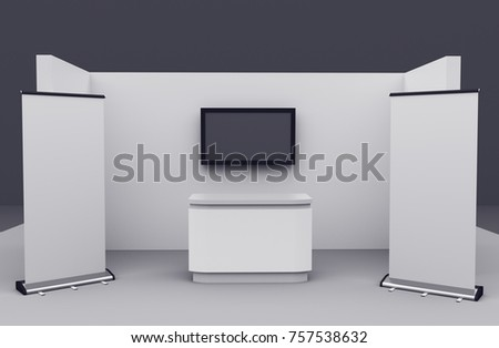 Small Exhibition Stand Mockup : Booth stand mockup customization 3 d render stock illustration