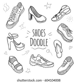 Boots doodle collection. Set of doodle shoes with sneakers, loafers, flip flops and sandals.Black and white illustration.
