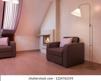 Bordeaux chairs by the fireplace in the modern living room in the attic floor. 3D rendering.