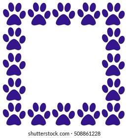 A border of blue paw prints on a white background