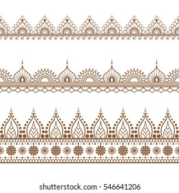 Border brown line lace mehndi elements in Indian style for card and tattoo isolated on white background. illustration