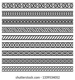 Border Decoration Seamless Patterns Set on White Background.