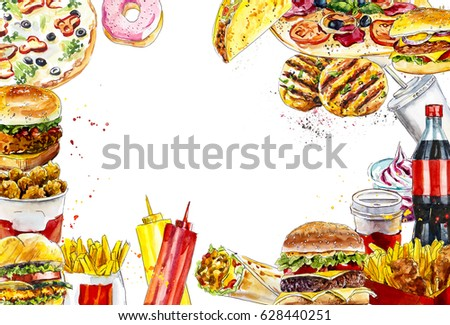 royalty free stock illustration of border fast food watercolor hand