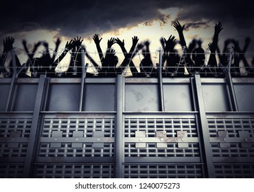 Border fence and wall separating contries. Concept. Concentration camp. People behind barbed wire and metal wall. Refugee camp concept. 3D rendered illustration