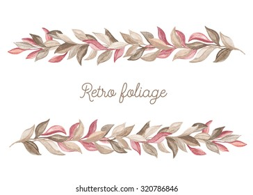 Border of foliage. Watercolor design elements on a white background. Floral decor