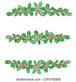 Border frame set of Holly branch with berries for Christmas holiday season on white background, watercolor illustration