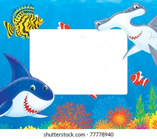 border with a great white shark, hammerhead, scorpionfish and anemonefishes swimming over a colorful coral reef in a tropical sea