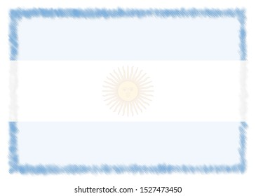 Border made with Argentina national flag. Brush stroke frame. Template elements for your certificate and diploma. Horizontal orientation.