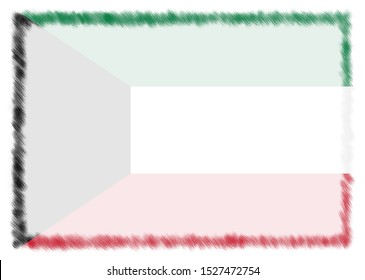 Border made with Kuwait national flag. Brush stroke frame. Template elements for your certificate and diploma. Horizontal orientation.