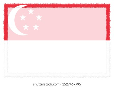 Border made with Singapore national flag. Brush stroke frame. Template elements for your certificate and diploma. Horizontal orientation.