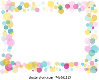 Border of memphis round confetti in cyan blue, pink and yellow on white. Childish frame background image, children's party birthday celebration card. Holiday confetti circles in memphis style.