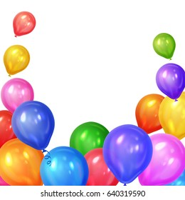 Border of realistic colorful helium balloons isolated on white background. Party decoration frame for birthday, anniversary, celebration