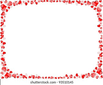 A border of red and white hearts. Sized to fit standard 8.5 x11 inch letter paper