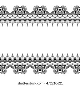 Border seamless pattern elements with flowers and lace lines in Indian mehndi style for card and tattoo. Illustration isolated on white background.
