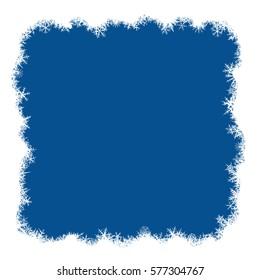 Border from various snowflakes on light blue background. Raster variant.