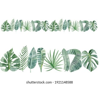 Border with watercolor tropical leaves on white background.  Colorful background for fabric, wallpapers, gift wrapping paper, scrapbooking. Design for kids.