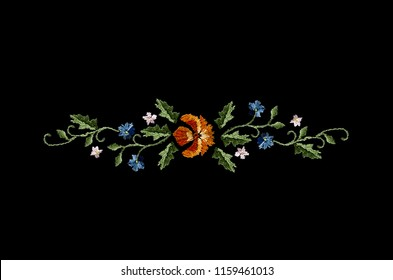Border of wavy branches with orange,blue and white flowers on twisted stems from black background