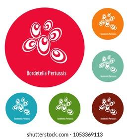 Bordetella pertussis icons circle set isolated on white background