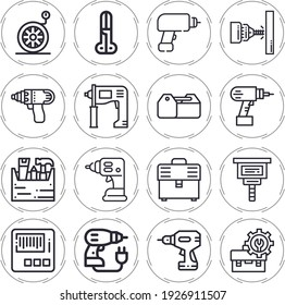 Bore 16 lineal icon set with hammer drill, toolbox, scissors, wheel, drill, carpenter, driller