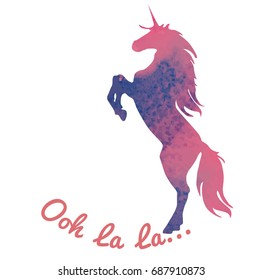 Born to be a unicorn. Abstract unicorn silhouette isolated with text inside on grunge background. With an Ooh la la inscription. Pink-purple jumping fictional fairy animal.