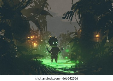 born from a dark nature, the cute creature made from magic swamp in tropical forest, digital art style, illustration painting