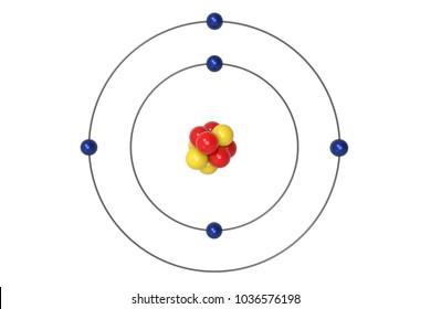 Boron Atom Bohr model with proton, neutron and electron. 3d illustration