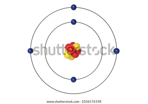 boron atom bohr model with proton, neutron and electron  3d illustration