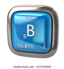 Boron B chemical element from the periodic table blue icon 3d illustration on white background