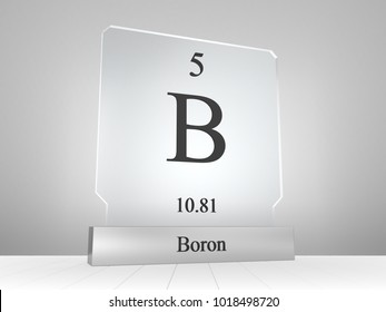Boron symbol on modern glass and metal icon  3D render
