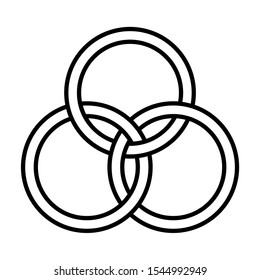 Borromean rings symbol with a white background